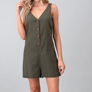 SALE Olive Green Linen Button Up Romper